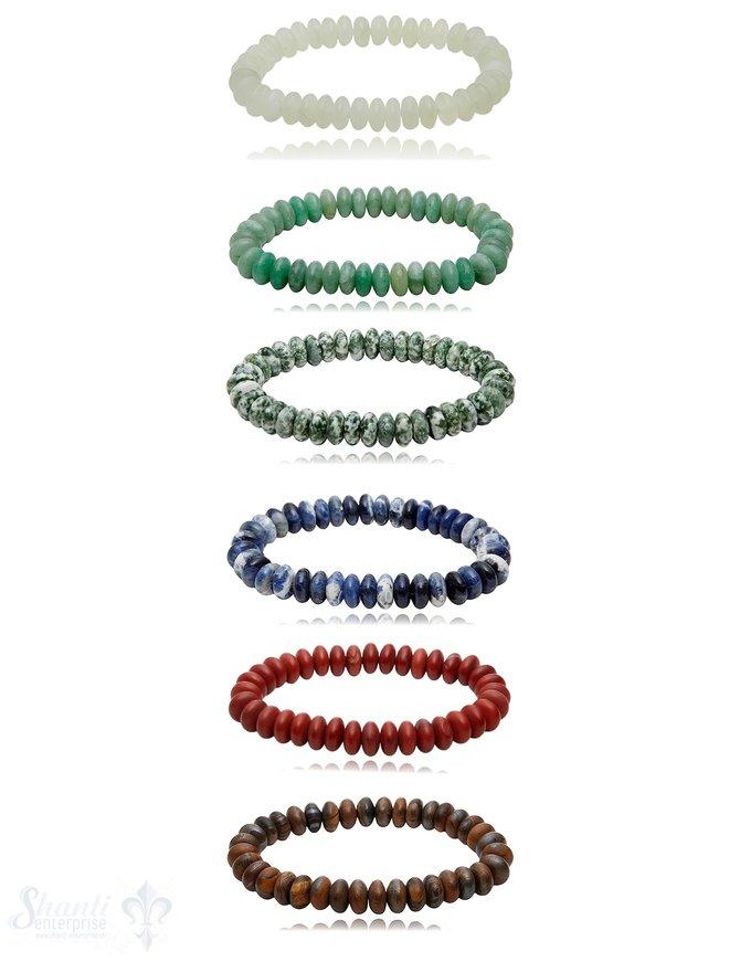 Buttons 10 mm Edelstein Armbänder matt auf Elastik 19 cm