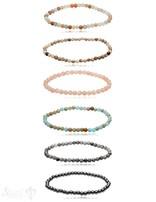 4 & 5 mm Edelstein Armbänder poliert rund auf Elastik 18 cm