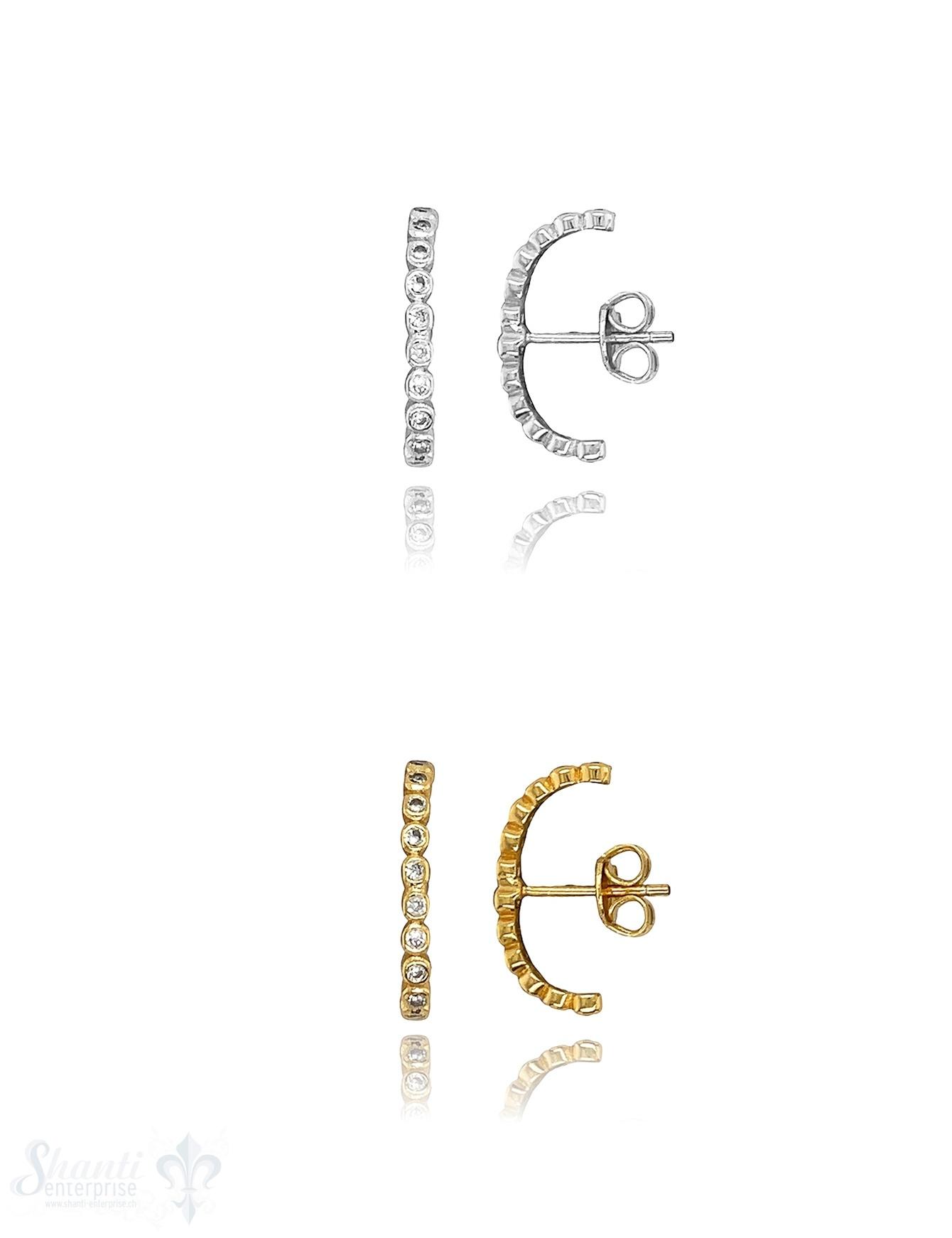 Zirkonia weiss Bügel Ohrstecker 16 mm 1,9 mm breit Silber (für Ohrkante) ec