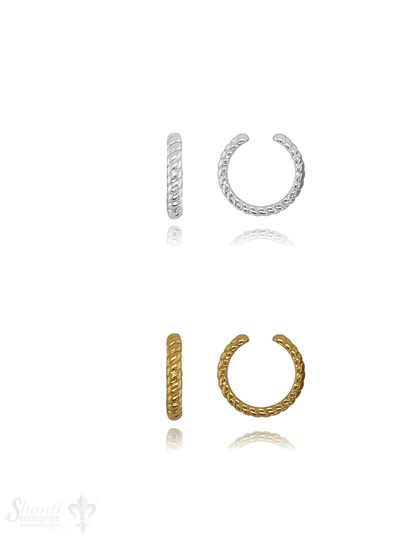 Ohrklemmen 13 mm gerillt 2,5 mm breit Silber massiv offen 1 Pack = 1 Paar