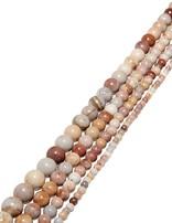 Marmor-Jaspis Strang beige-grau-rosa poliert Kugeln AA