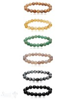 Armband 10 mm poliert rund auf Elastik 20 cm