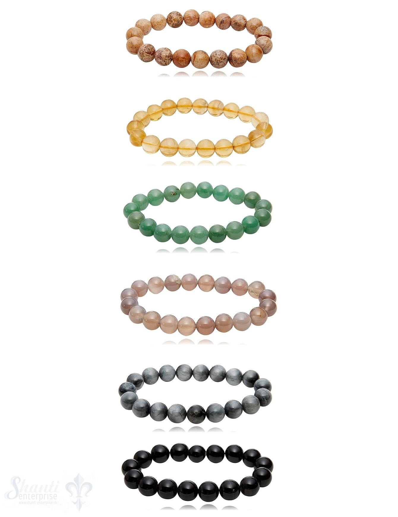 10 mm poliert Edelstein Armbänder rund auf Elastik 20 cm