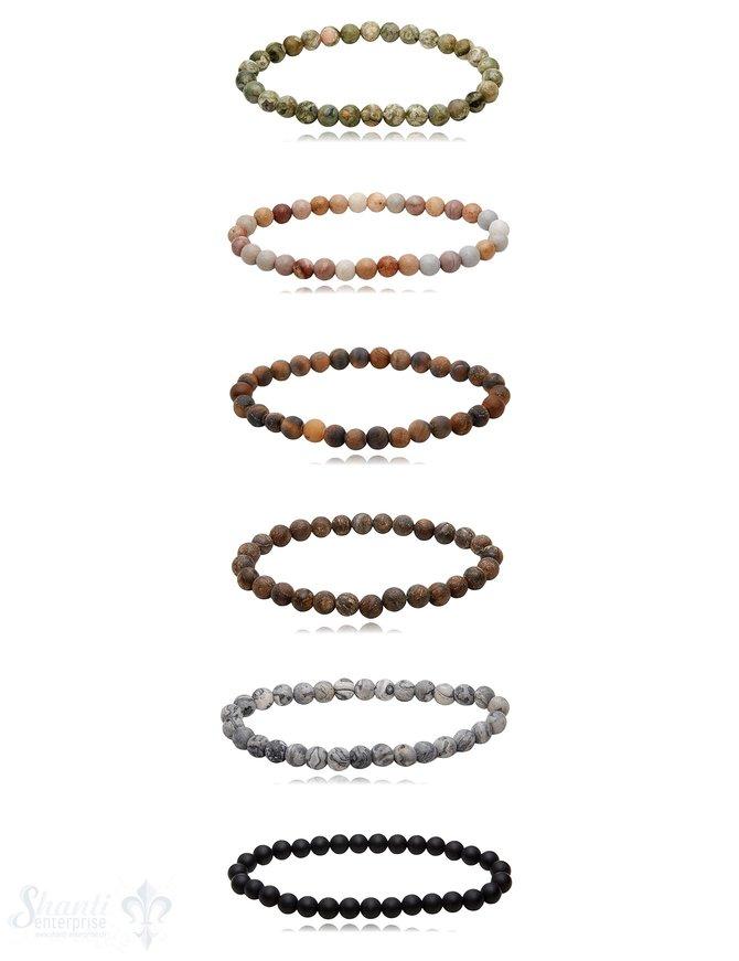 6 mm matt Edelstein Armbänder rund auf Elastik 18 cm