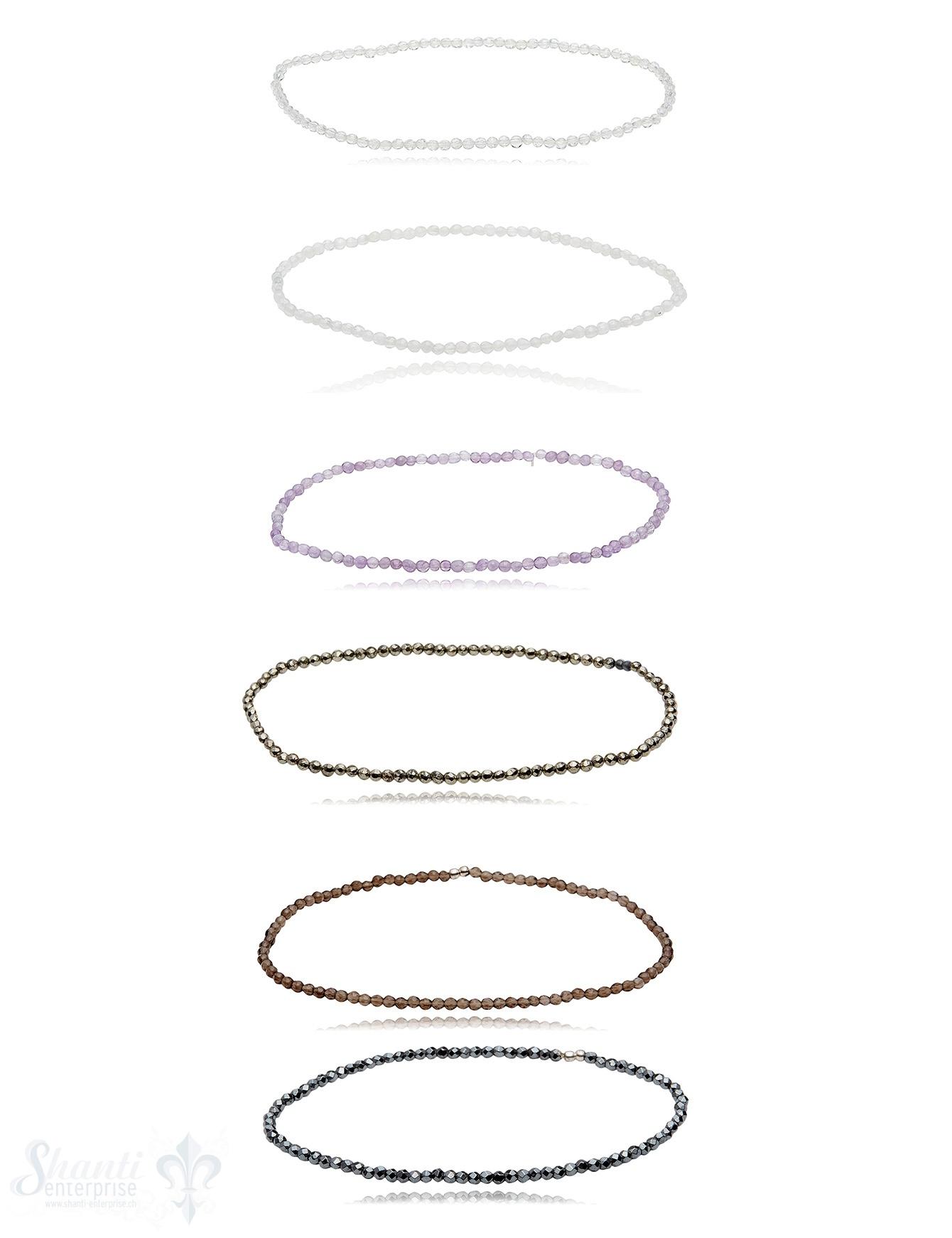 2.2 mm facettiert Edelstein Armbänder rund auf Elastik 17 cm