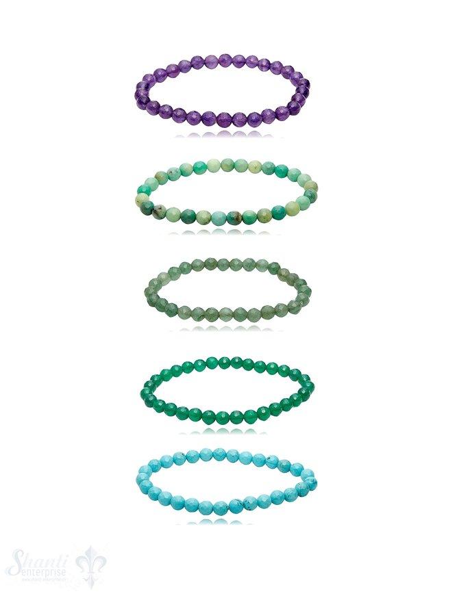 Edelstein Armband facettiert rund auf Elastik 18 cm