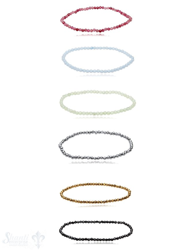 Edelstein Armband 3 mm facettiert rund auf Elastik 17 cm