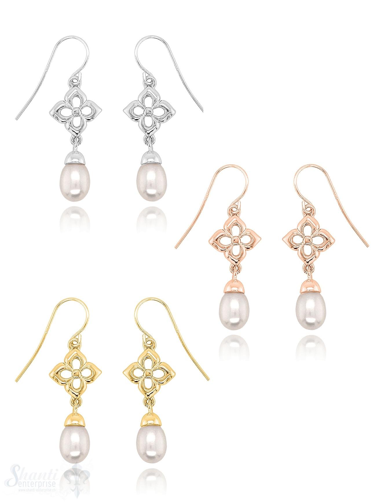 Perlen Ohrhänger 12x28 mm an Blumen 4-blättrig mit Bügel Perlen Tropfenform Silber 925