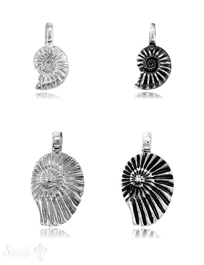 Ammonit Anhänger mit Struktur Öse fix oval Silber 925