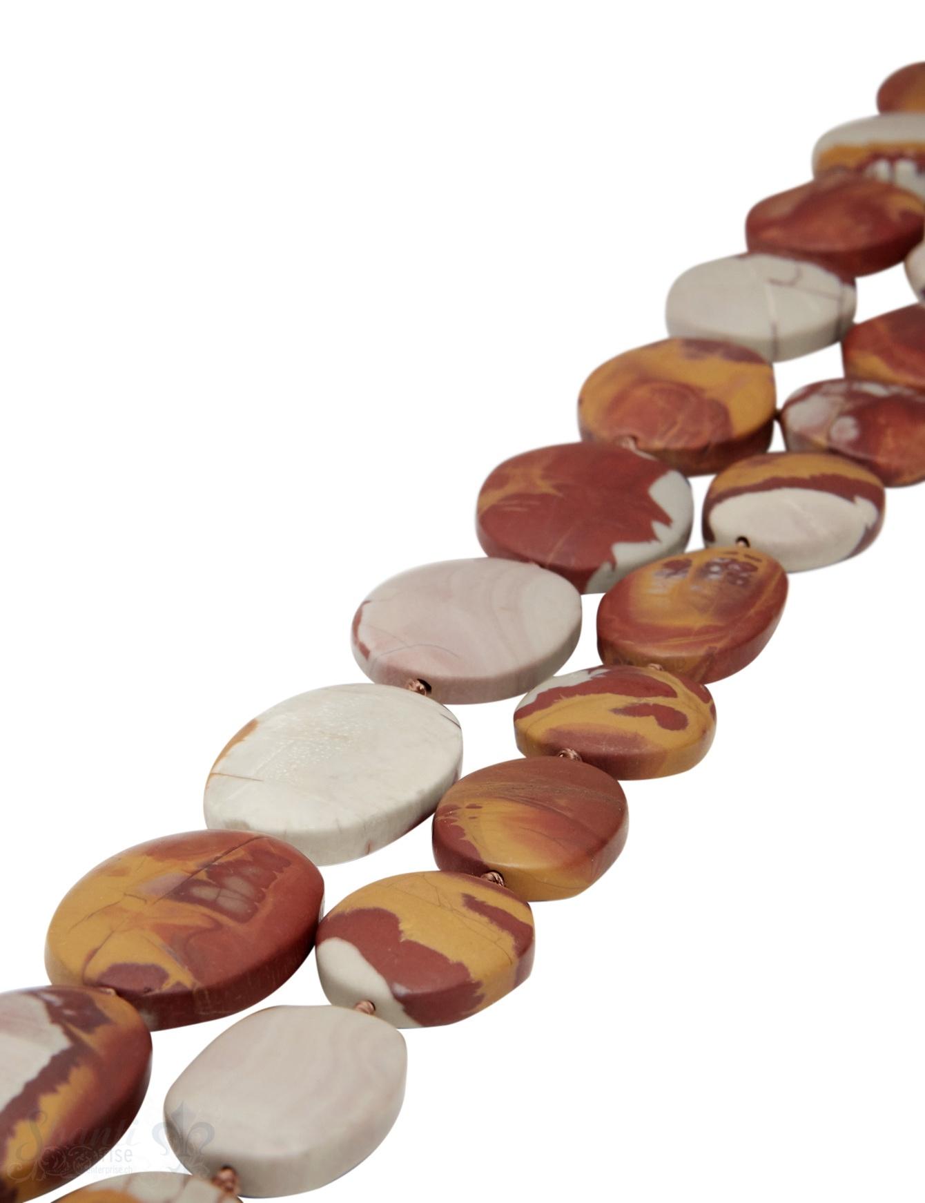 Australischer Jaspis Strang rot-braun poliert Oval flach A unregelmässig im Verlauf