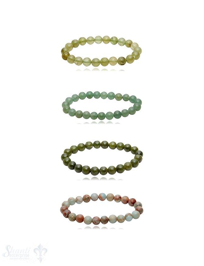 8 mm Edelstein Armbänder poliert rund auf Elastik 18-19 cm