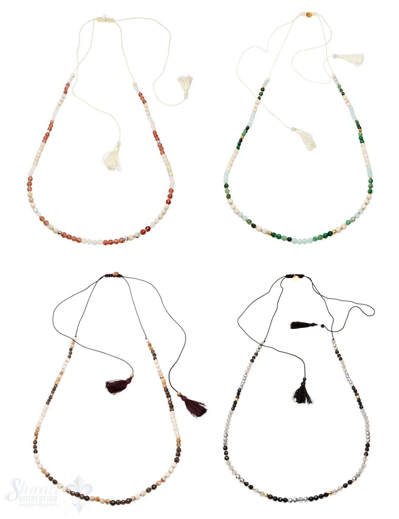 Halskette mit Stein & Silber 3.5 mm auf BW-Faden 36-85 cm verstellbar