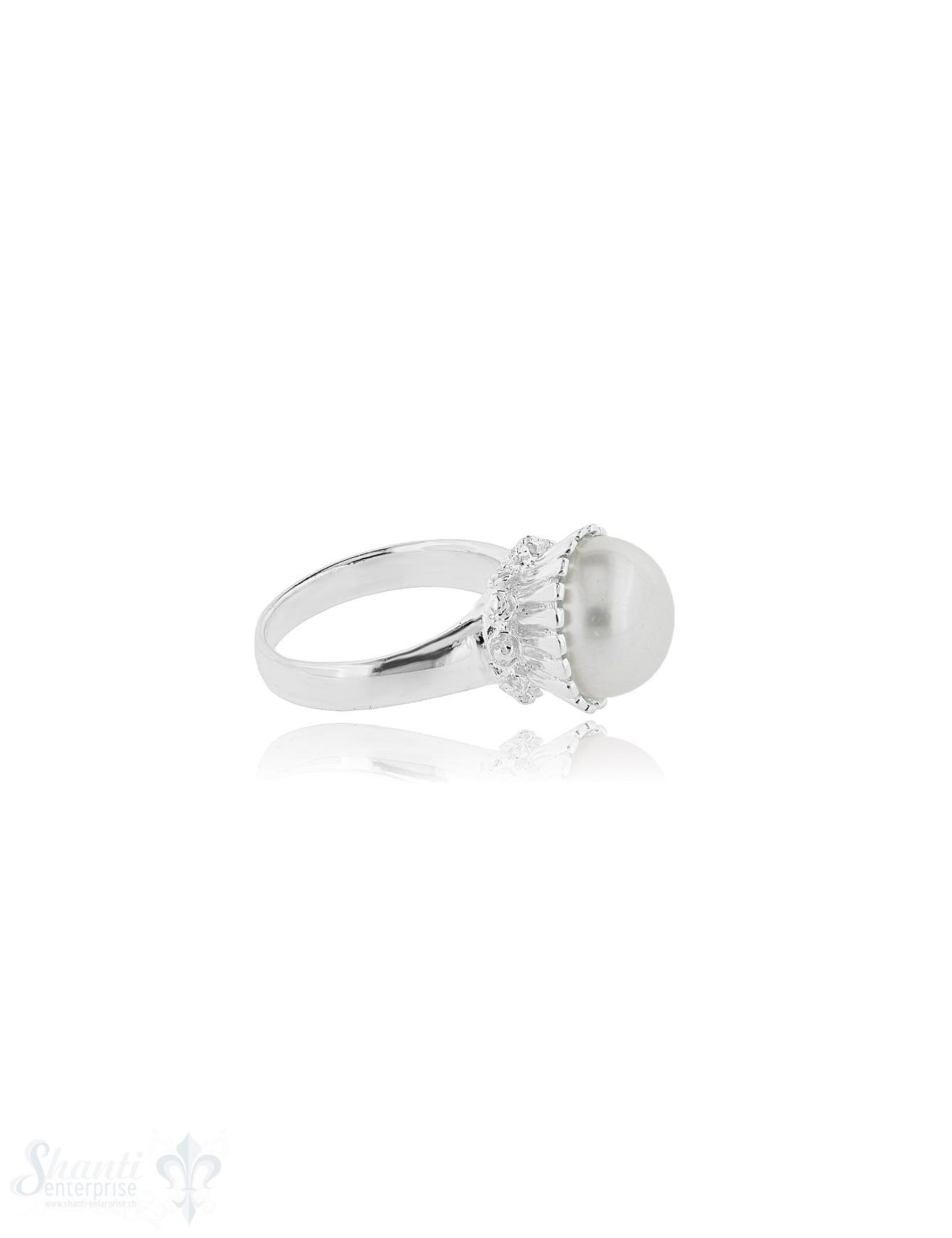 Perle weiss Silberring 12 mm Kronenfassung verziert 14 mm hoch Schiene verjüngend bis 3,5 mm Silber 925 poliert