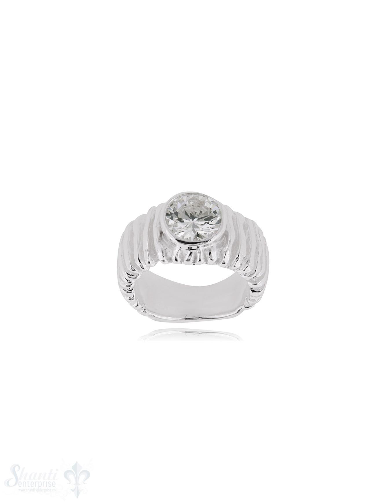 Zirkonia weiss Silberring 9 mm facettiert Schiene Rillenstruktur grob unten flach verjüngend bis 6 mm Silber 925 hell
