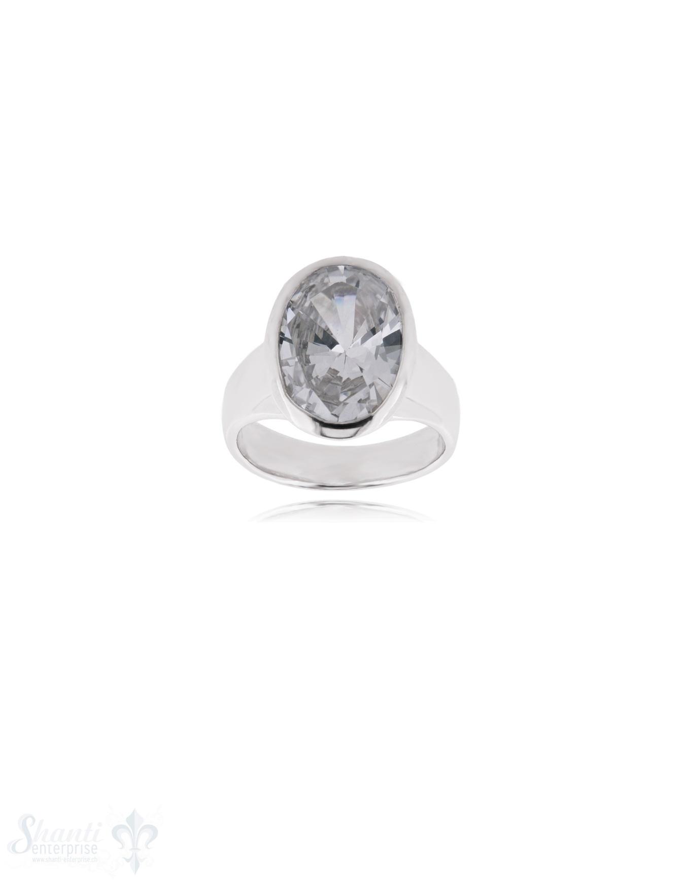 Zirkonia weiss Silberring 13x17 mm facettiert konische Form,Schiene verjüngend bis 4,7 mm Silber 925 poliert