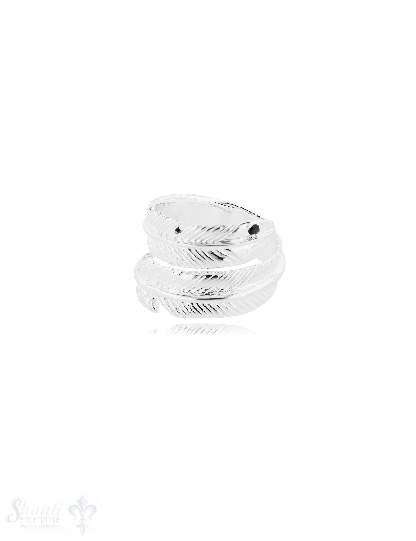 Feder Silberring offen mit Struktur Federauge mini Zirkonia schwarz verstellbar Silber 925 hell