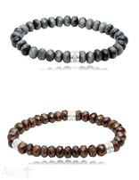 button Armband 8 mm mit Zirkonia Silberteile facettiert 19 cm auf Elastik