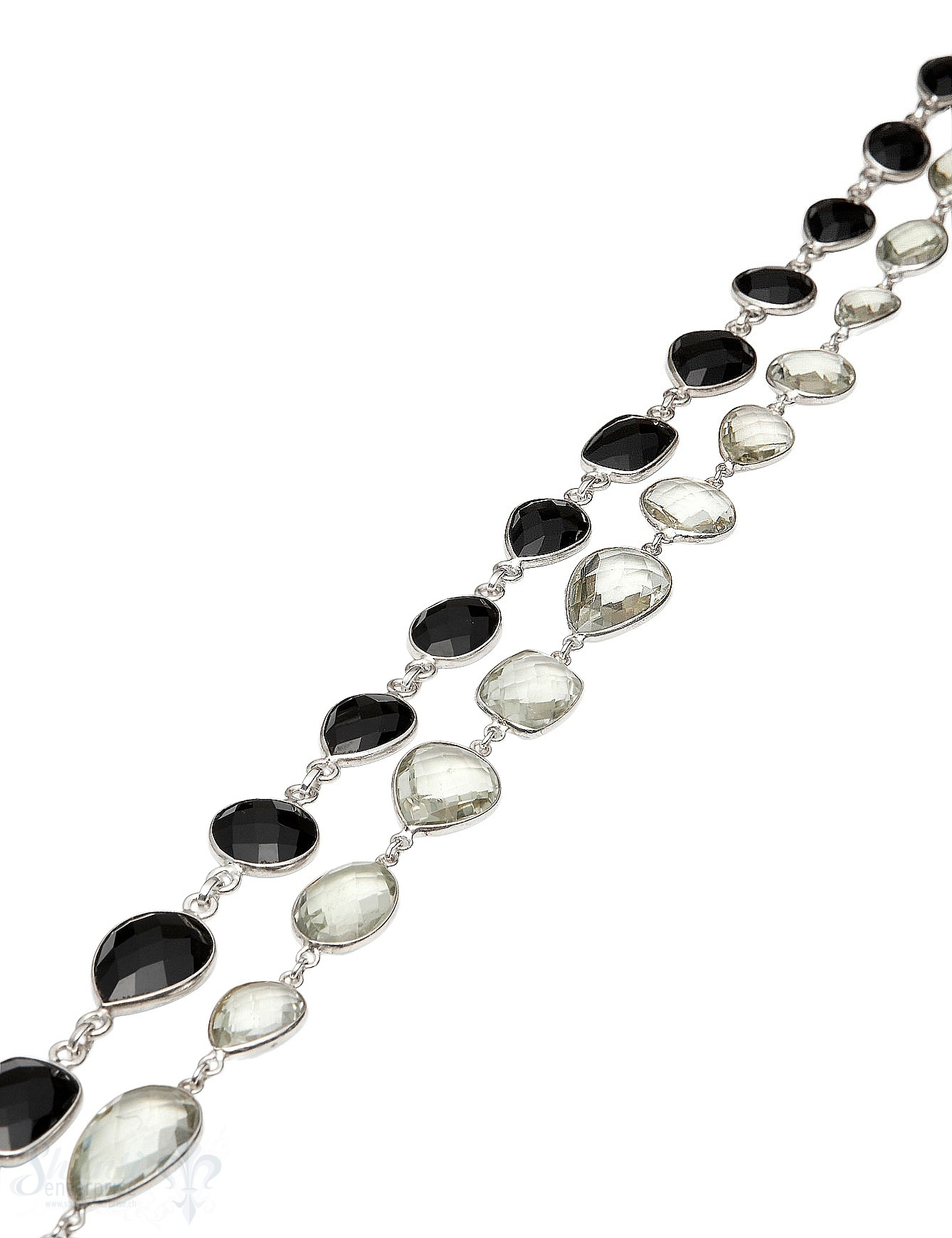 Silberkette gefasst Steinen diverse Form en facettiert Silber 925 Breite ca. 13 mm Abschnittlänge wird angepasst Preis per m 2.08