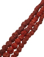Rudraksha Kette rot-braun Kugeln geknüpft mit rotem Zottel