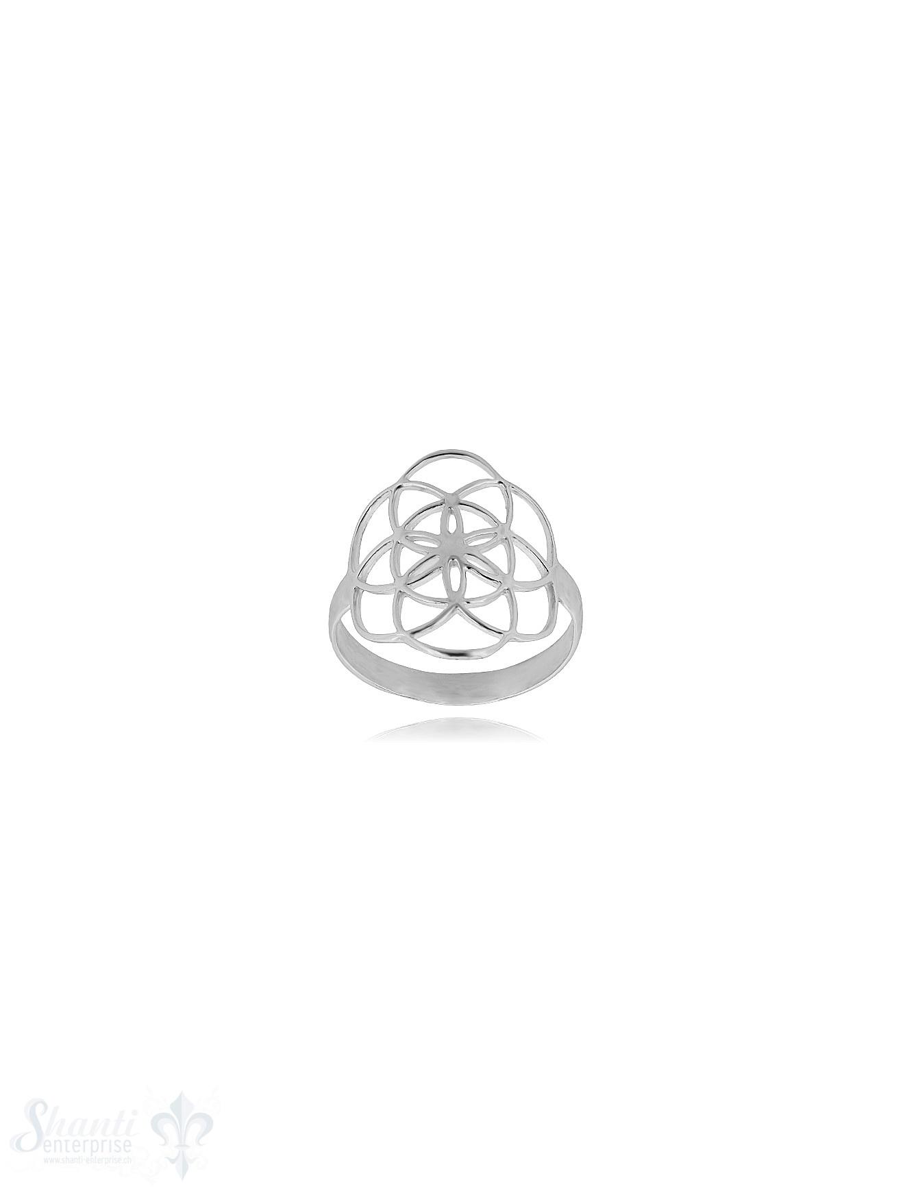 Symbol Yijing Silberring 18x15 mm durchbrochen gebogen  Schiene 3 mm breit (= Wandlung) Silber 925 poliert