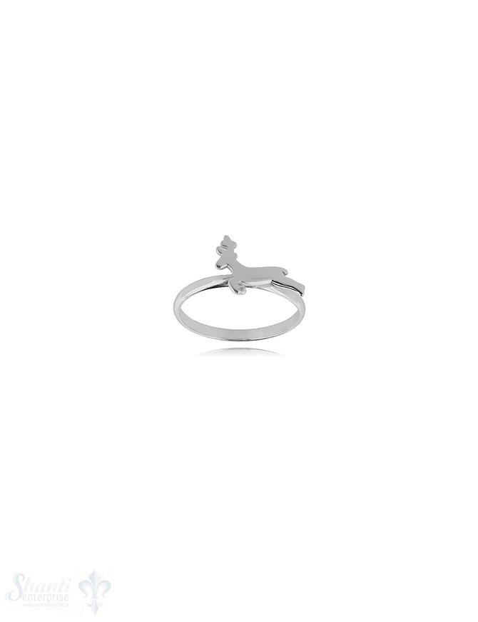 Hirsch springend Silberring 2 mm breit Sujet flach 9x13 mm Silber 925 poliert
