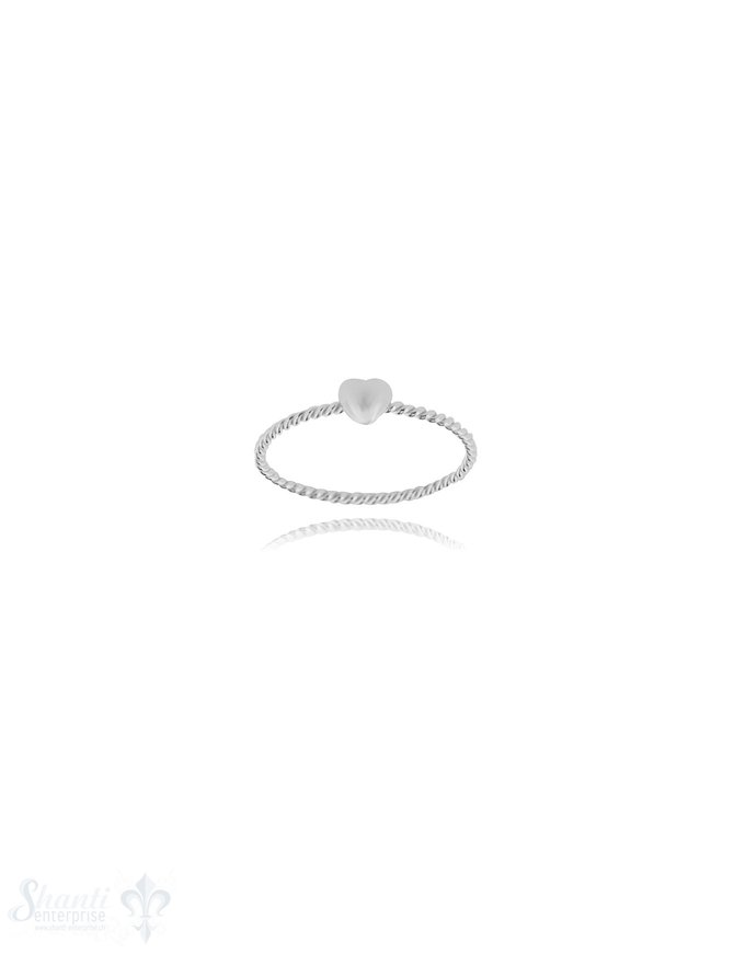 Herz Silberring 4x4 mm poliert Schiene gedreht 1,7 mm breit Silber 925 hell