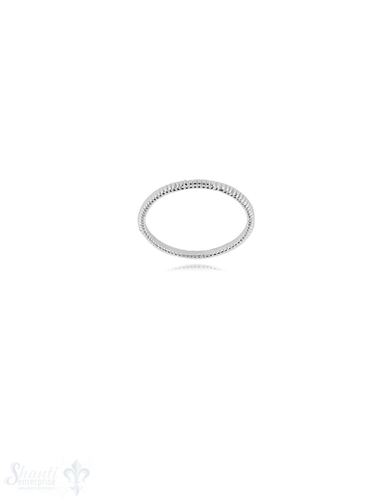 Struktur Silberring 1,7 mm breit fein gerilllt Innenseite flach Silber 925 hell