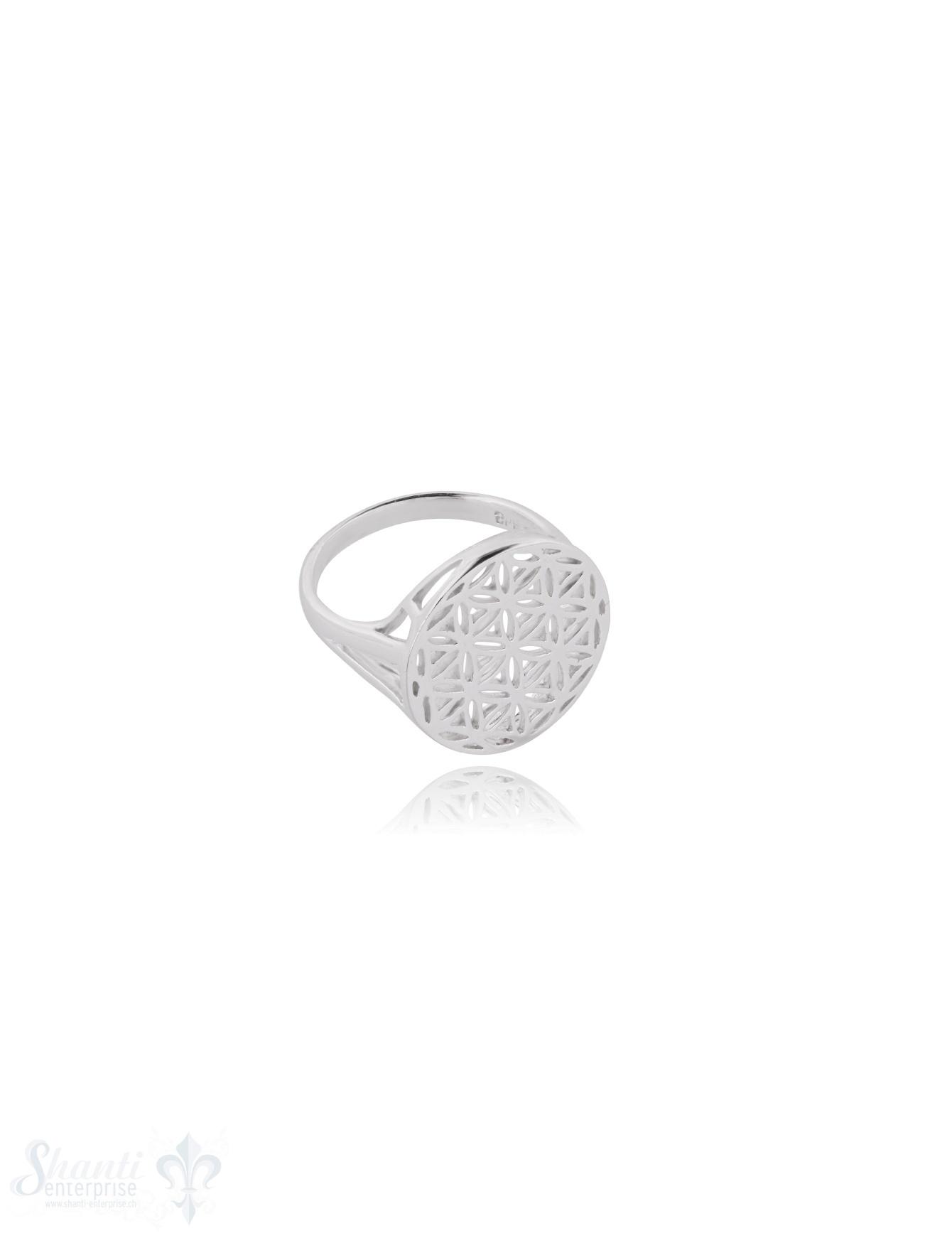 Blume des Lebens Silberring 17 mm durchbrochen Schiene im Verlauf geometrisch offen 2,5 mm Silber 925 poliert