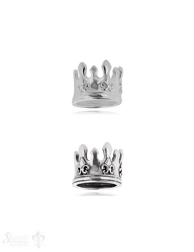 Kronen Silberring 18 mm mit 3 Lilien Struktur einseitig Schiene unten gerillt 10 mm breit Silber 925