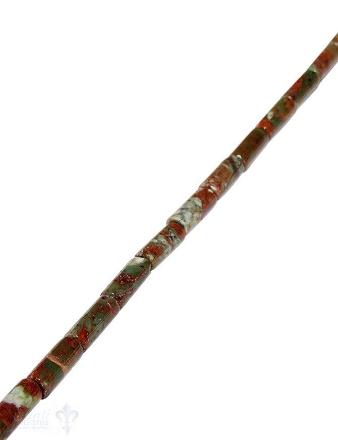 afrik.Opal Strang grün-braun poliert Walzen 15x6 mm AA Opalgestein