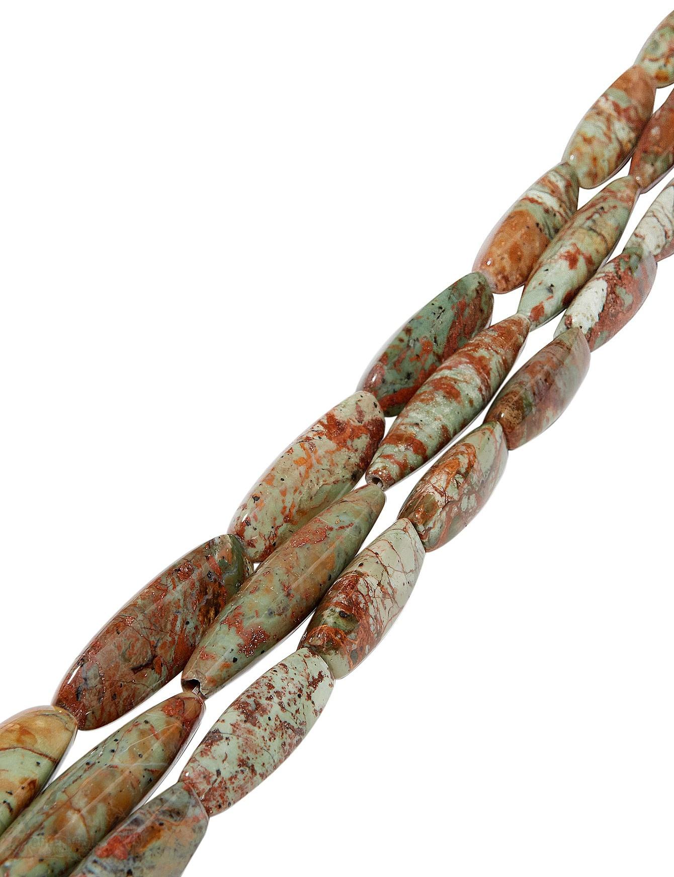 afrik.Opal Strang grün-braun poliert Navette 3- kantig AA Opalgestein