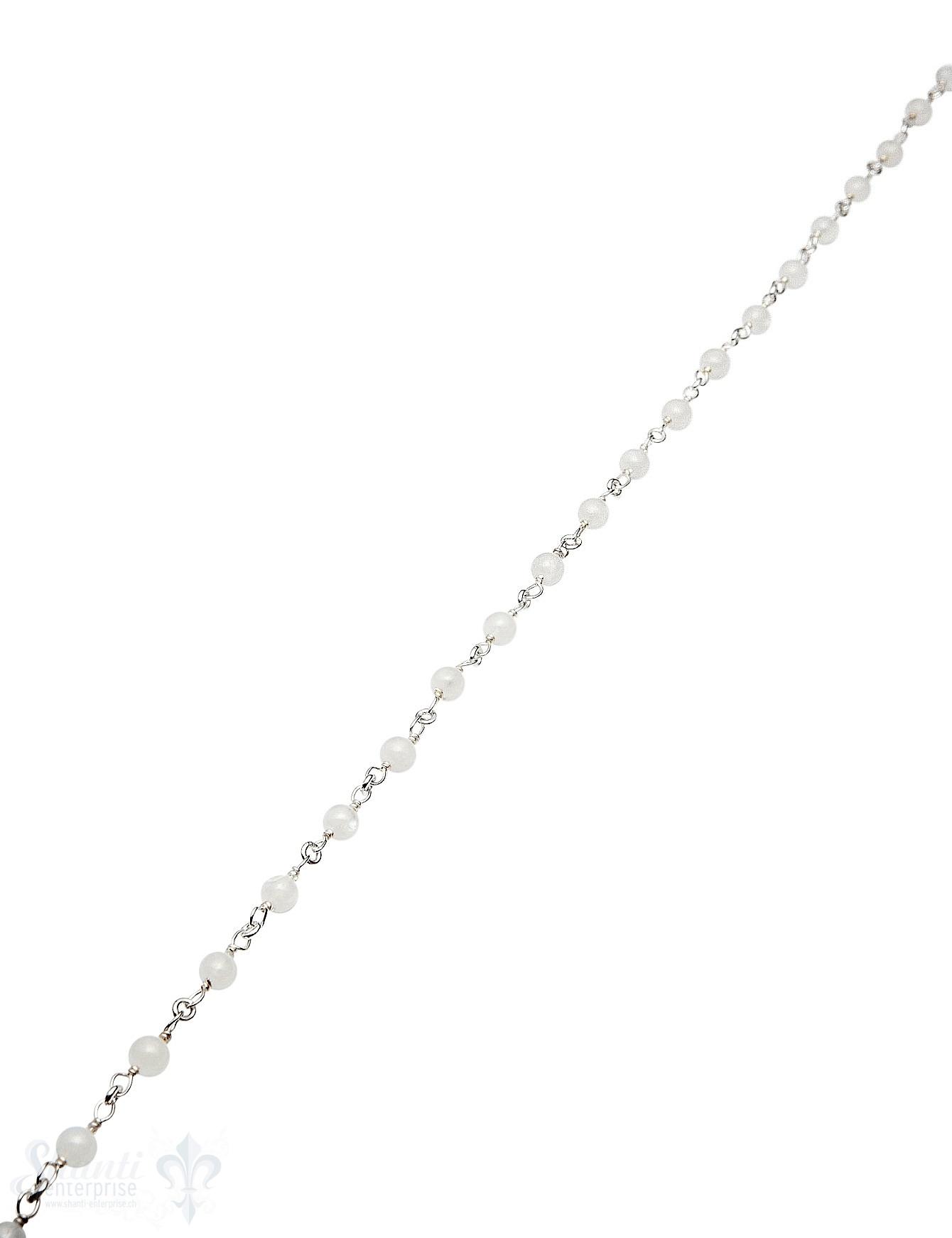 Rosenkranzkette Regenbogenmondstein weiss 4 mm run