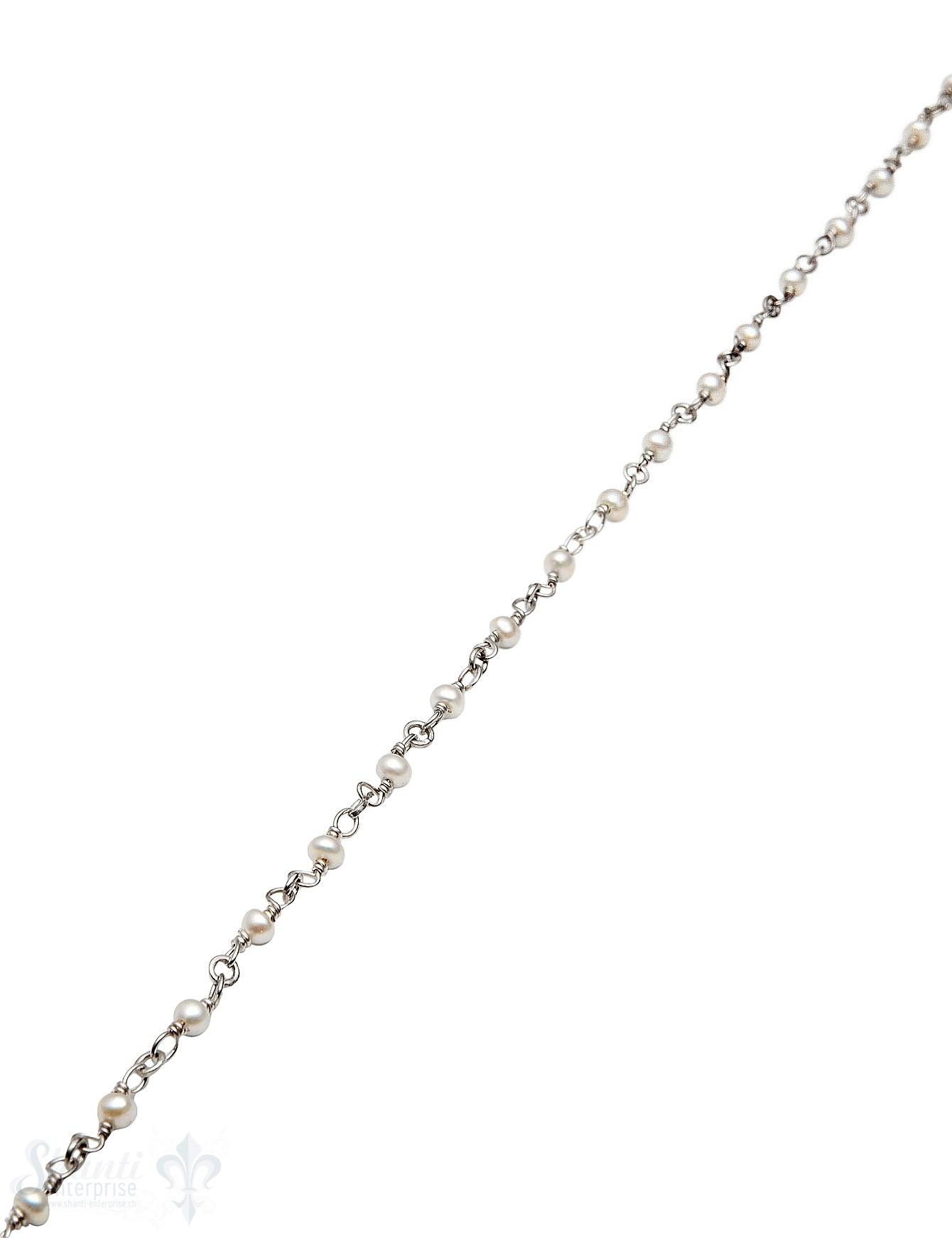 Rosenkranzkette Perlen weiss 3 mm Buttons poliert