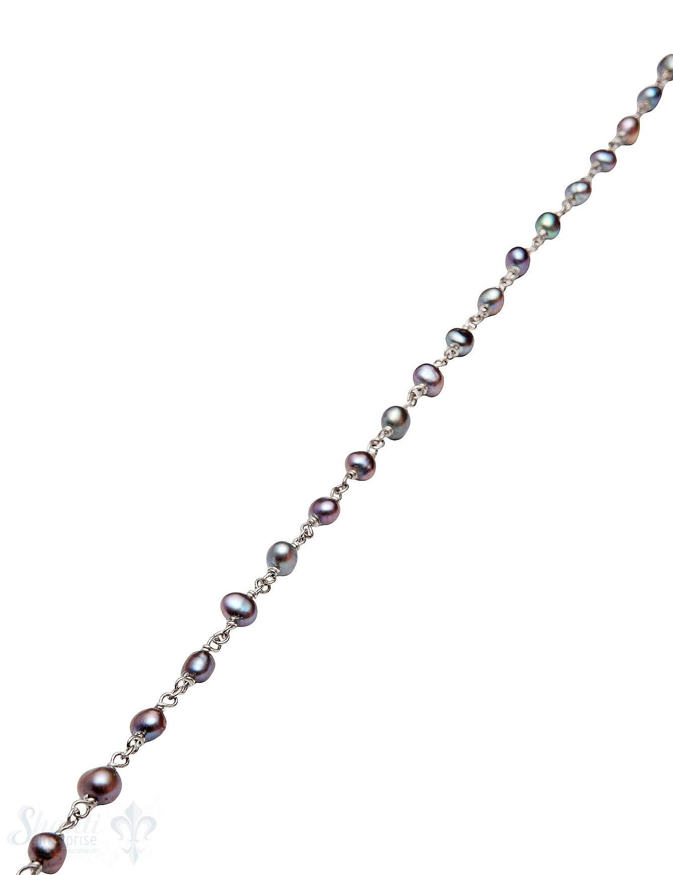 Rosenkranzkette Perlen schwarz 5 mm rund poliert