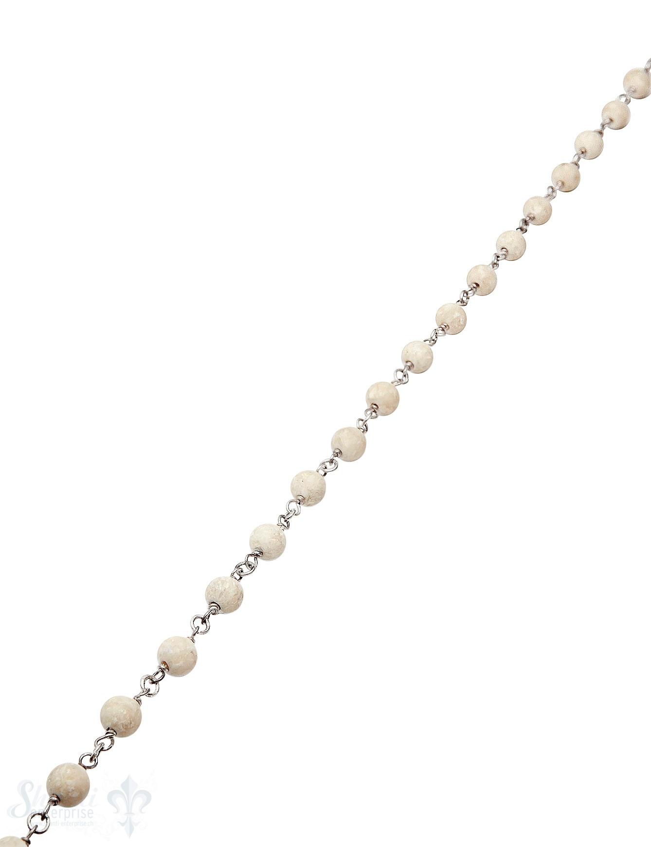 Rosenkranzkette Riverstone beige 6 mm rund matt