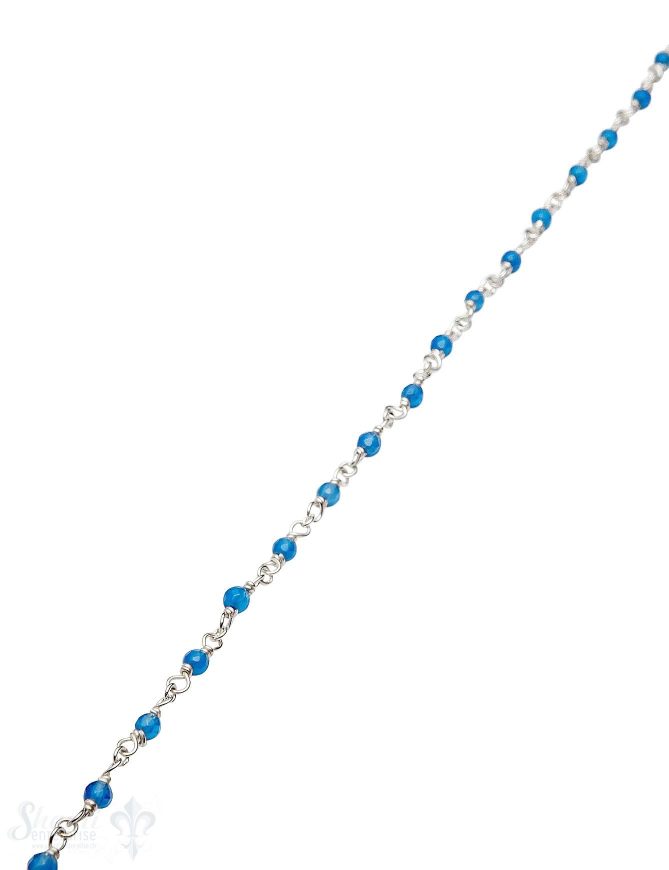 Rosenkranzkette Jade blau gefärbt 3 mm rund facett