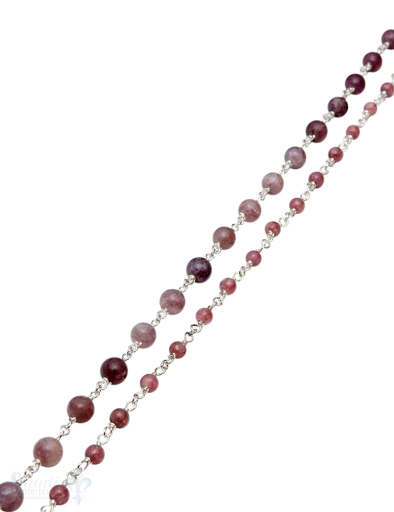 Rosenkranzkette Lepidolith rund poliert Silber 925 Abschnittlänge wird angepasst Preis per m