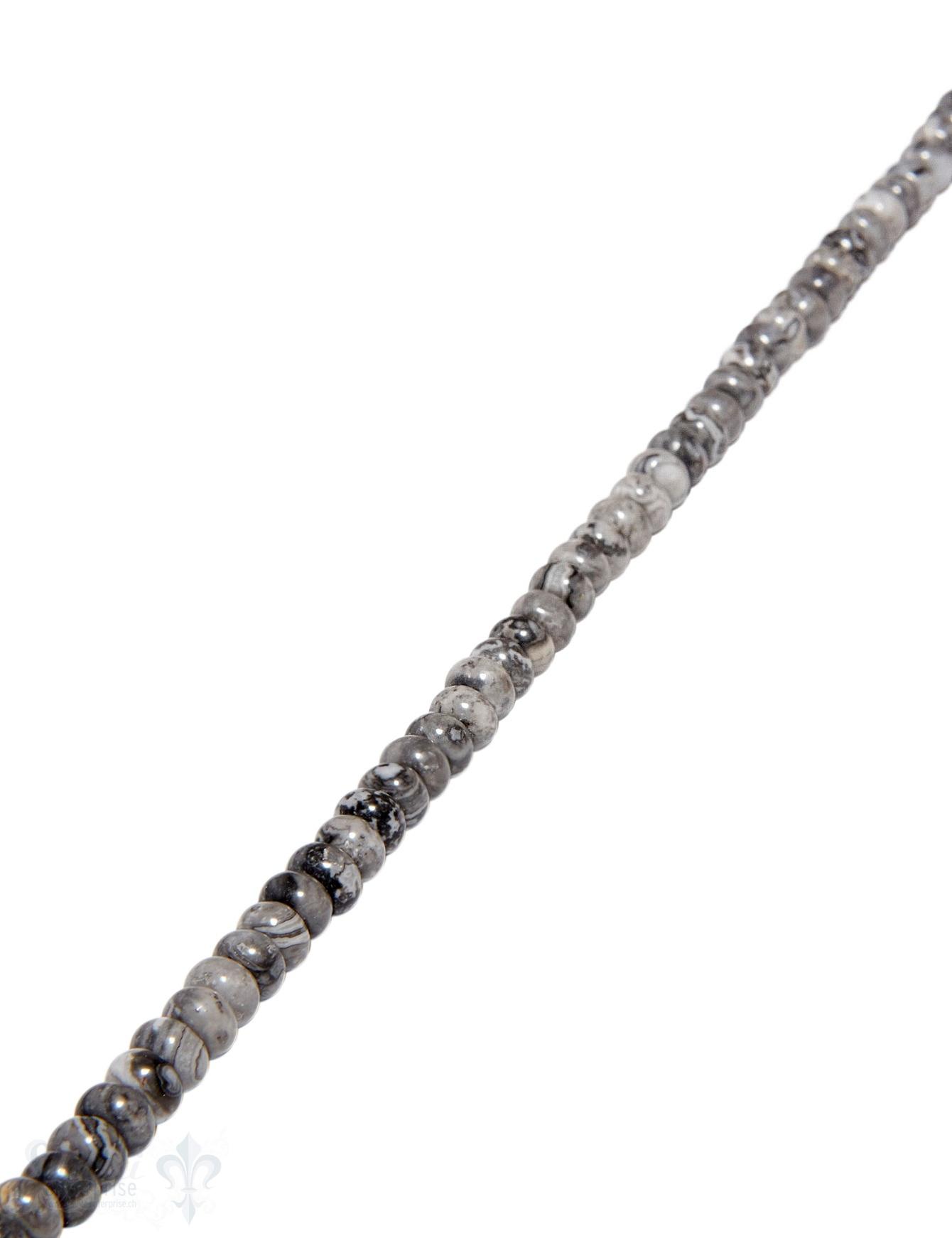 Fossilien-Jaspis Strang grau gefleckt poliert