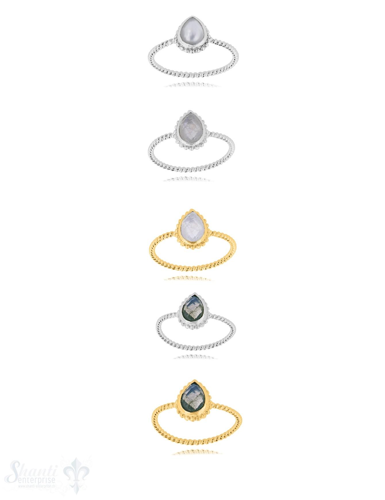 Silberring Tropfen 10x8 mm facettiert gepunktet Schiene 1,4 mm breit Silber 925