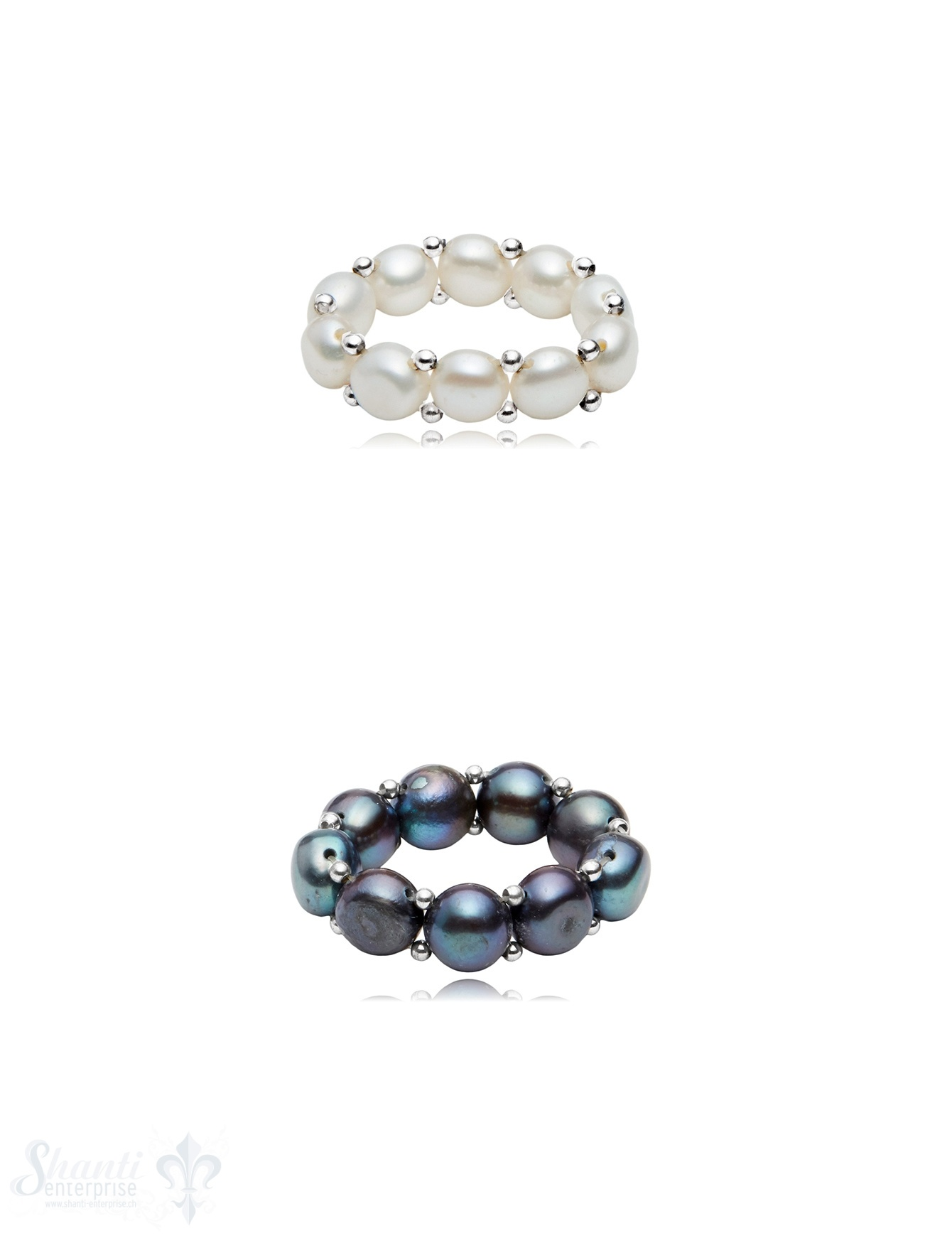 Perlenring mit Silberkugeln verziert auf auf Elastik 6.5 mm breit Silber 925