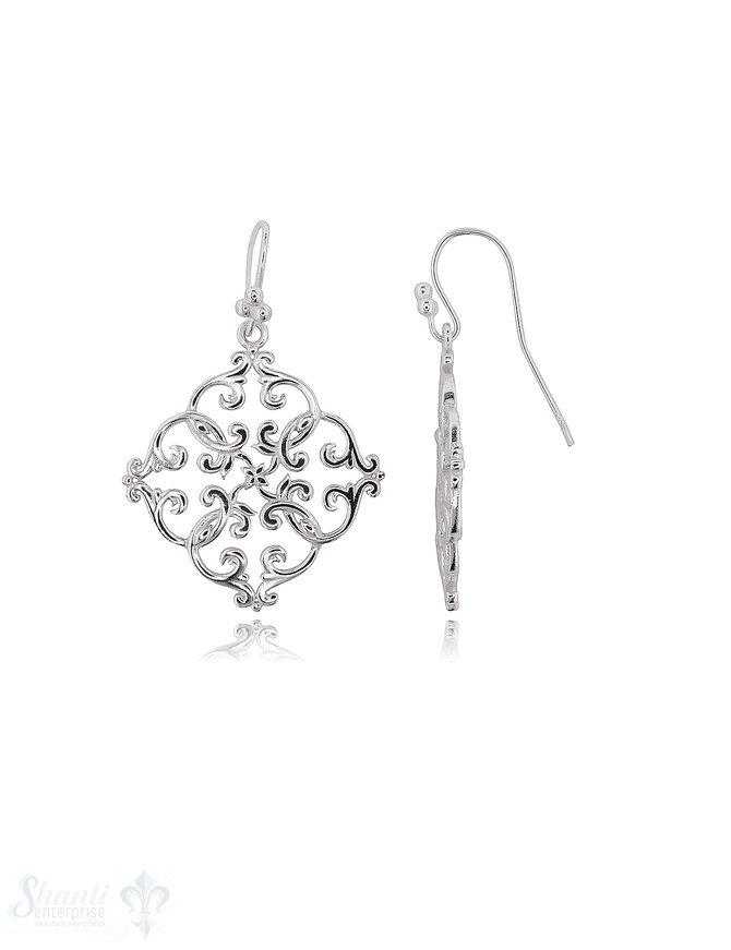 Blumenmandala Ohrhänger 28x28 mm Silber 925 mit Bügel