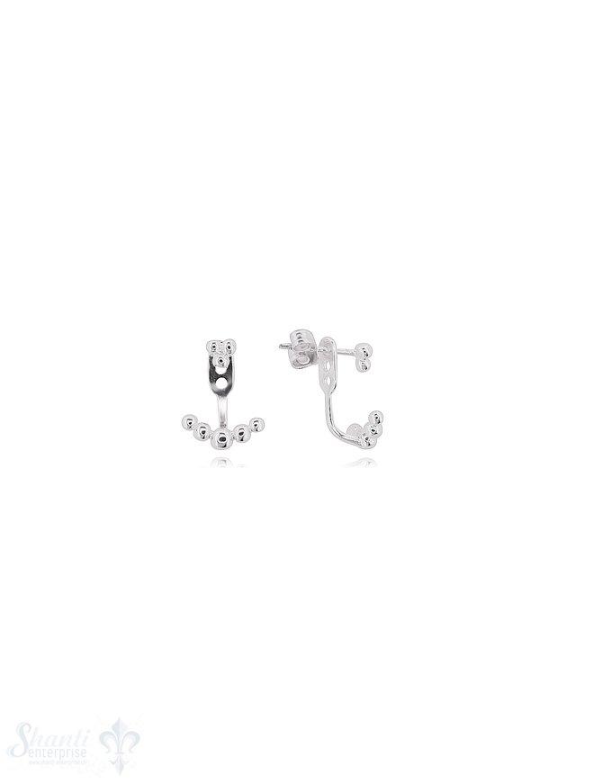 Doubleface Ohrstecker 10x14 mm mit Punkten Höhen verstellbar Silber 925