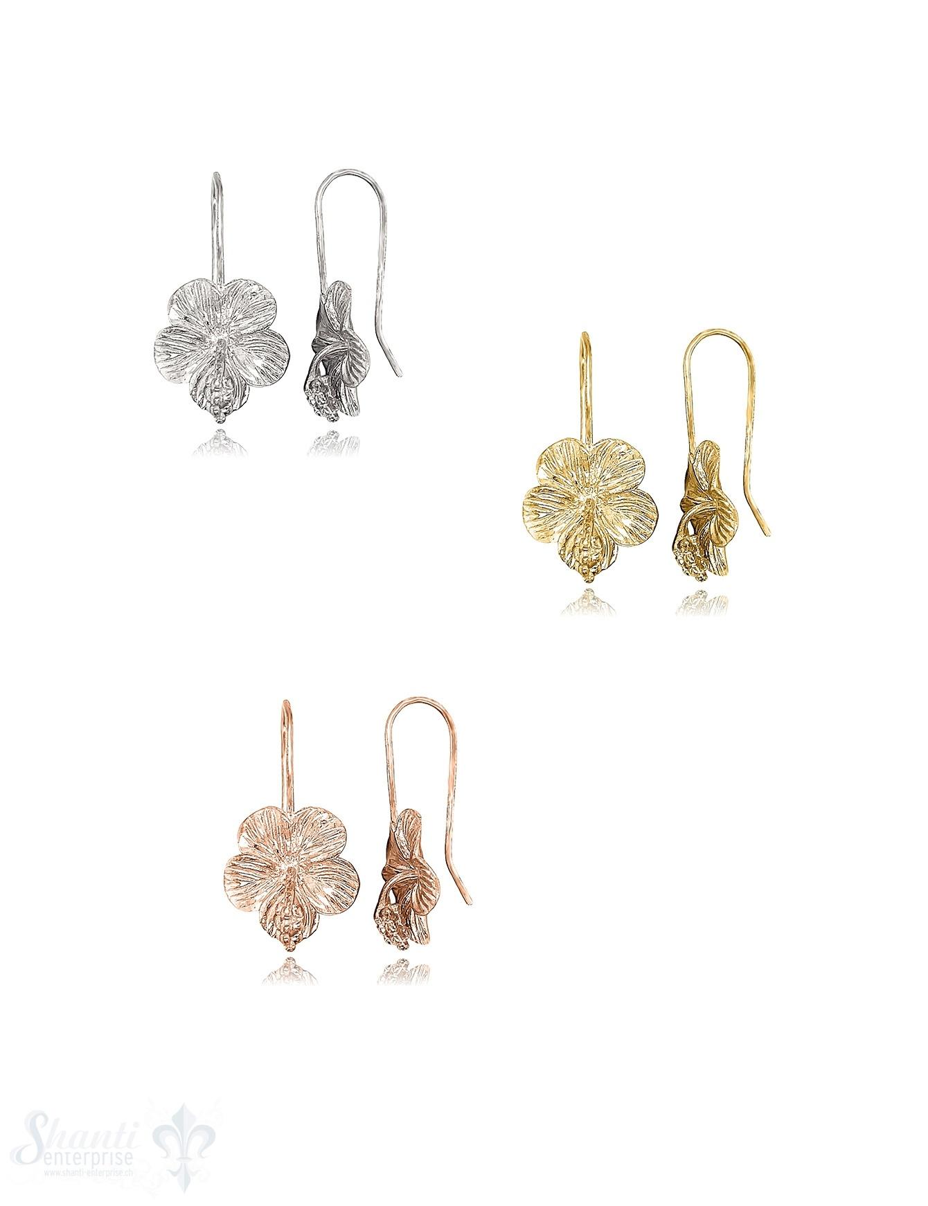 Hibiskusblüte Ohrhänger 15x20 mm mit Bügel Silber 925