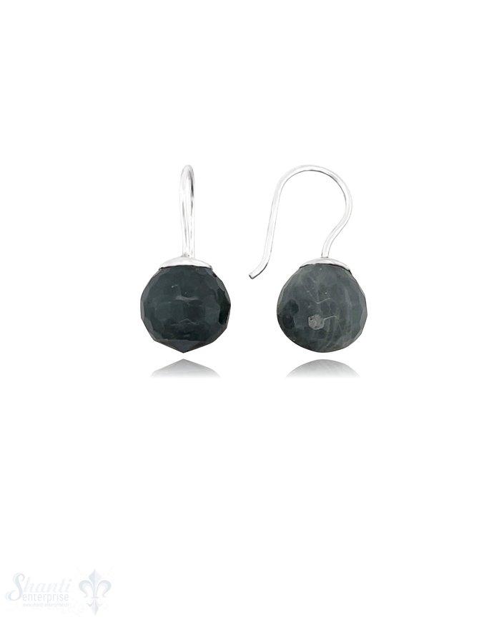 Ohrhänger rund mit Stein Silber 925 mit fixem Bügel