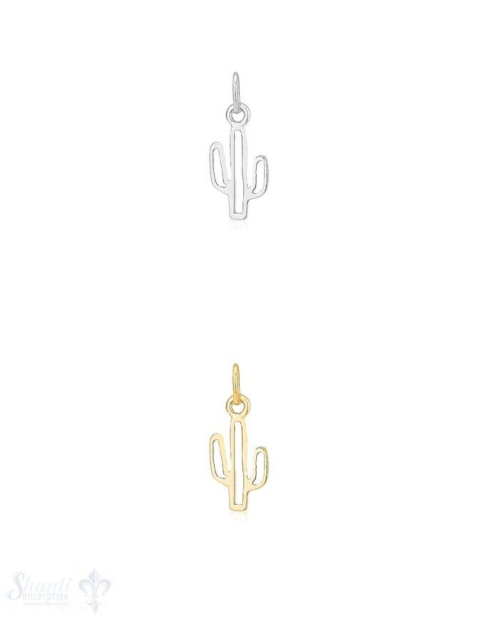 Anhänger Silber hell Kaktus 15x7 mm 1 Pack = 2 Stk.