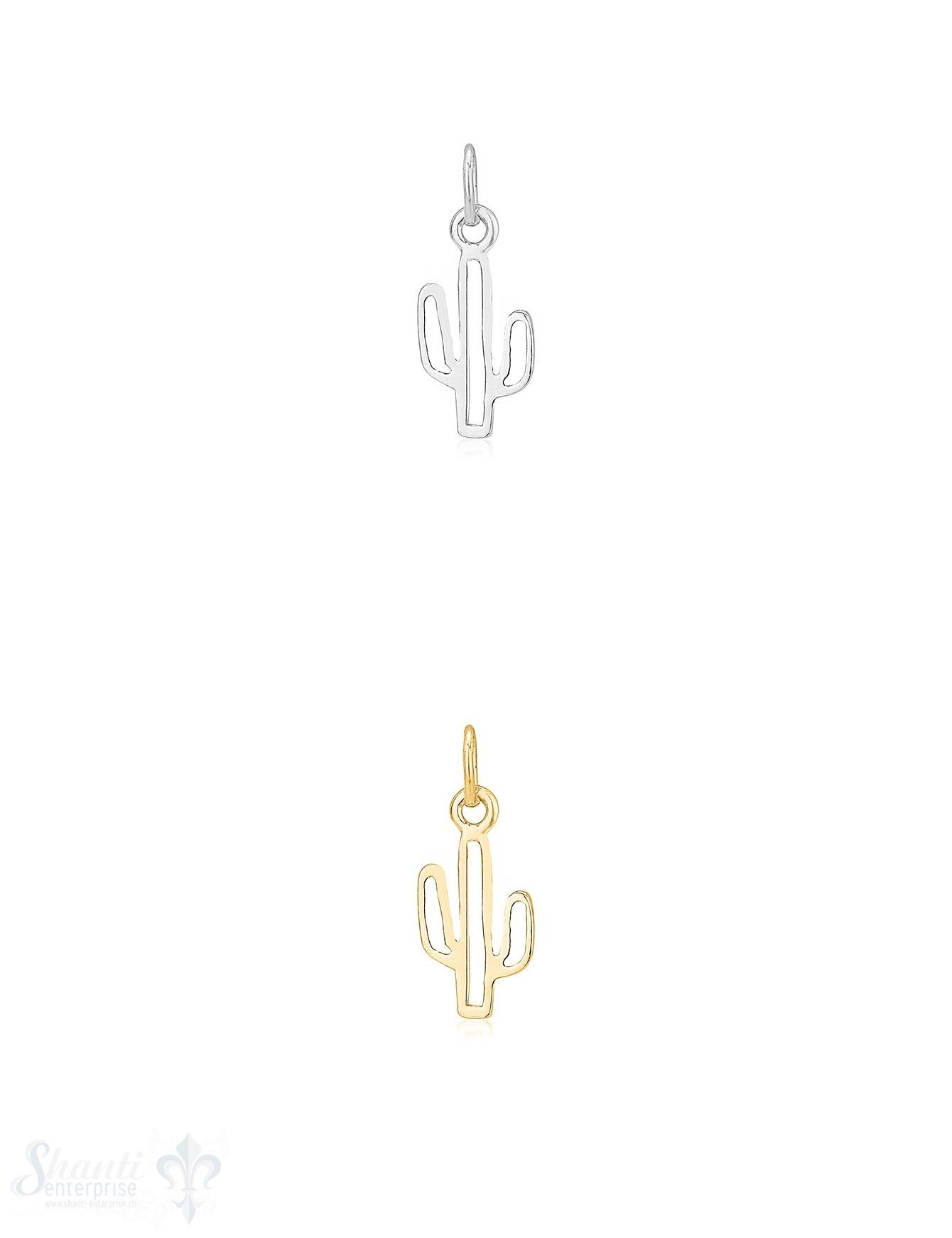 Anhänger Silber hell Kaktus 15x7 mm