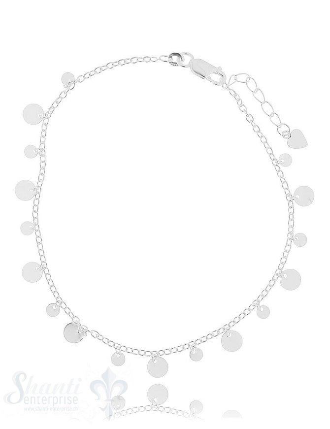 Fussketteli fein mit ungl. Silberplättli Federringschloss 22,5-25,5 cm Grössen verstellbar