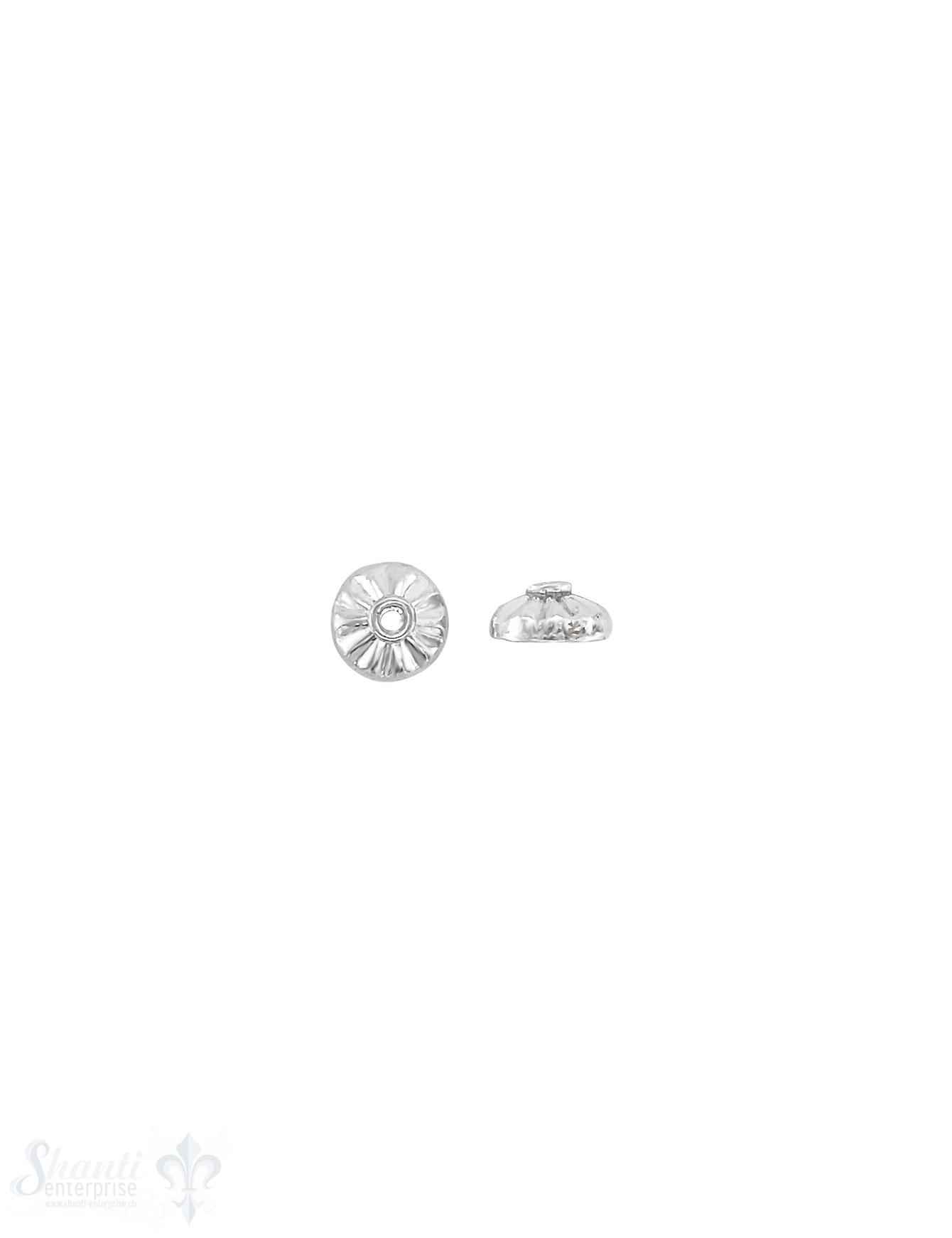 Perlkappe Silber 8x3,7  mm strahlenförmig kantig