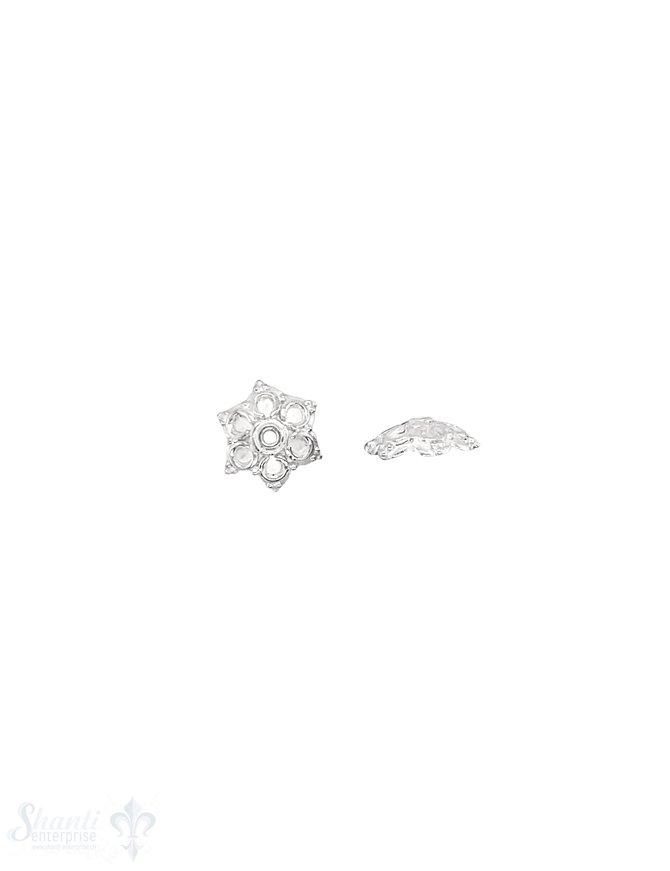 Blumen Perlkappe 9x3 mm verziert fein getupft flach mit Rand fein Silber 925  hell  ID 0.8 mm 1 Pack = 10 Stk. ca. 5 gr.