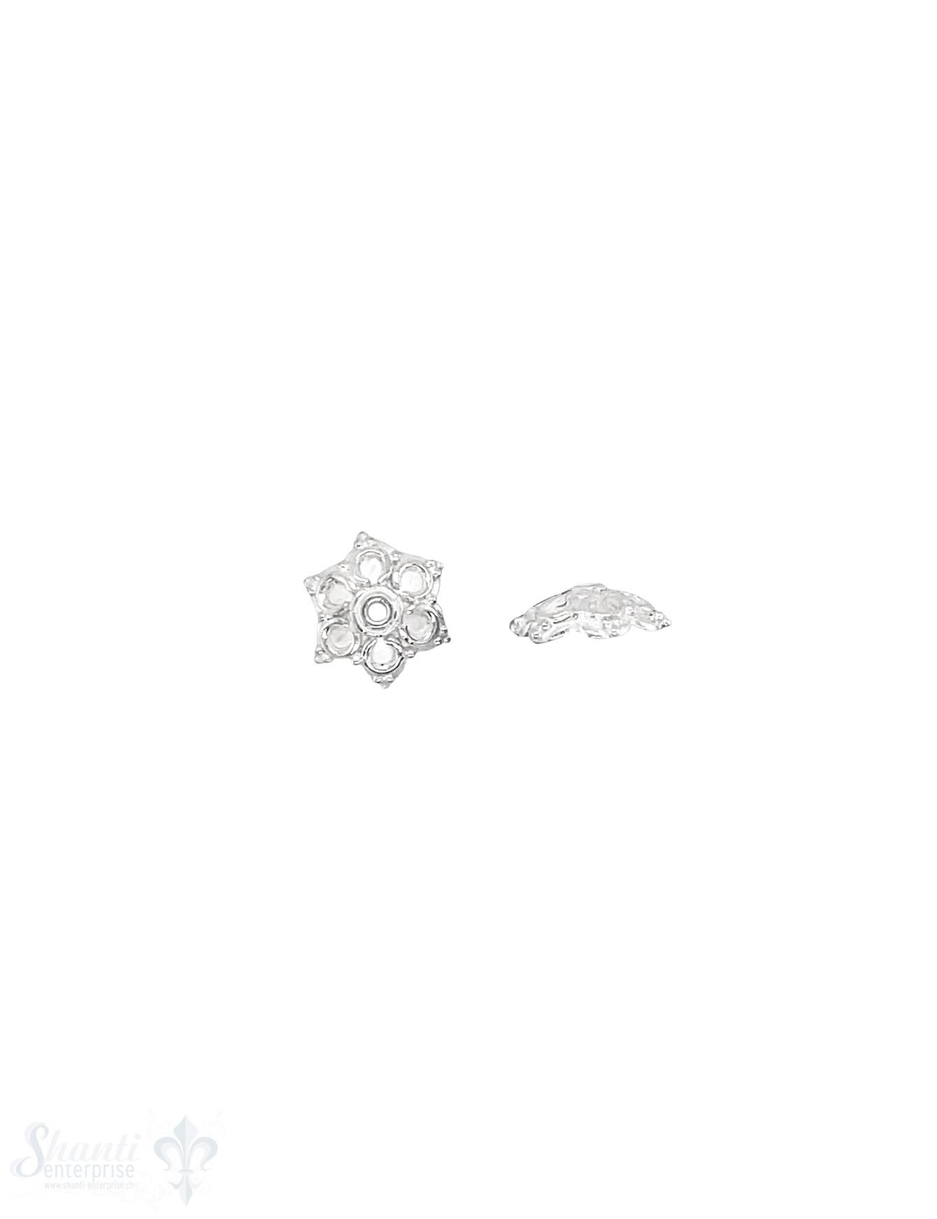 Blumen Perlkappe 9x3 mm verziert fein getupft